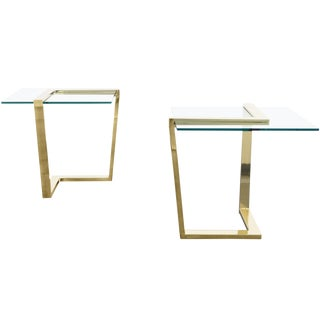 Vintage Brass Cantilevered Side Tables by Dia - a Pair For Sale