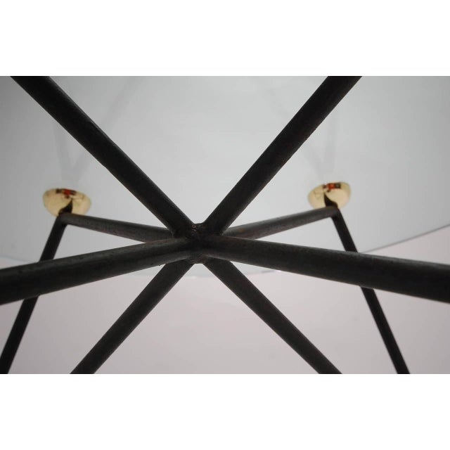 Mid 20th Century Iron and Brass Glass Top Coffee Table For Sale - Image 5 of 6