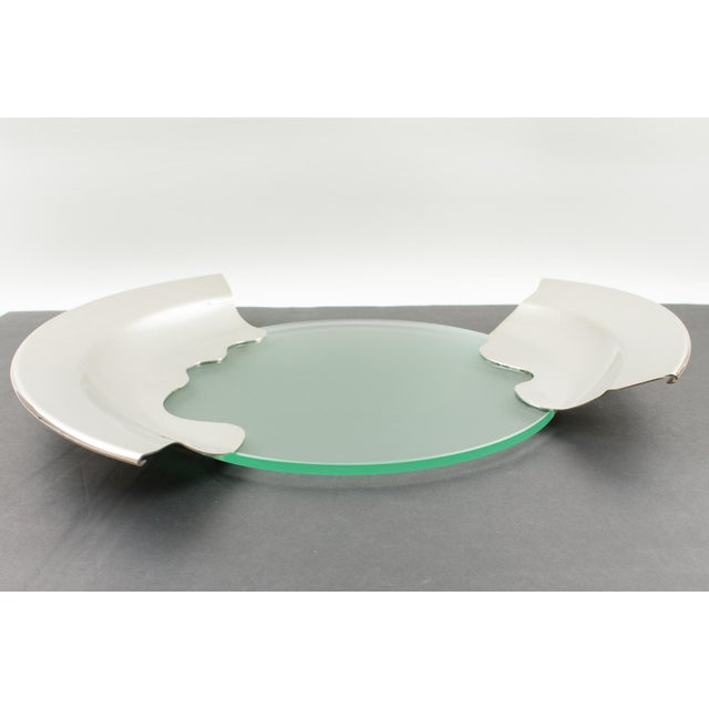 1980s Futurist Silver Plate Glass Platter Bowl Centerpiece For Sale - Image 9 of 11