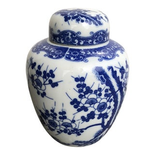Chinoiserie Blue and White Tea Caddy For Sale