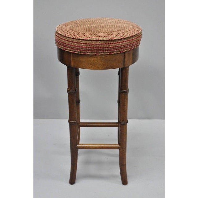 Faux Bamboo Chinese Chippendale Style Mahogany Counter Stool Details: Solid wood construction, beautiful wood grian,...