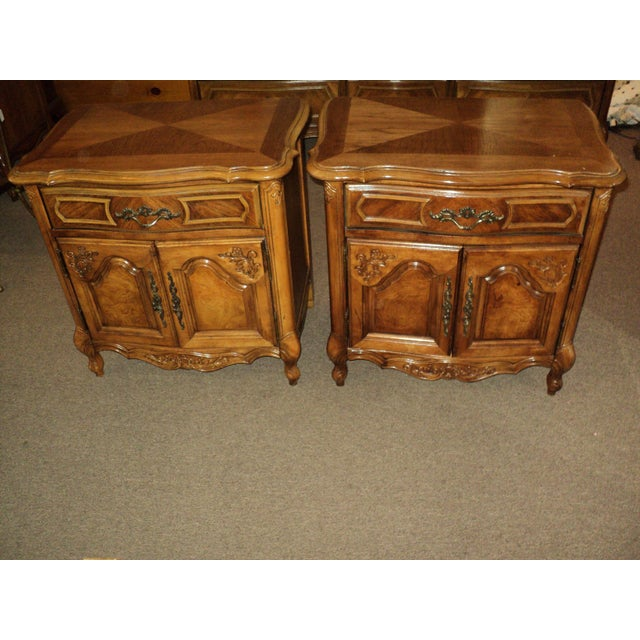 Stanley French Provincial Pecan Nightstands - A Pair - Image 2 of 6