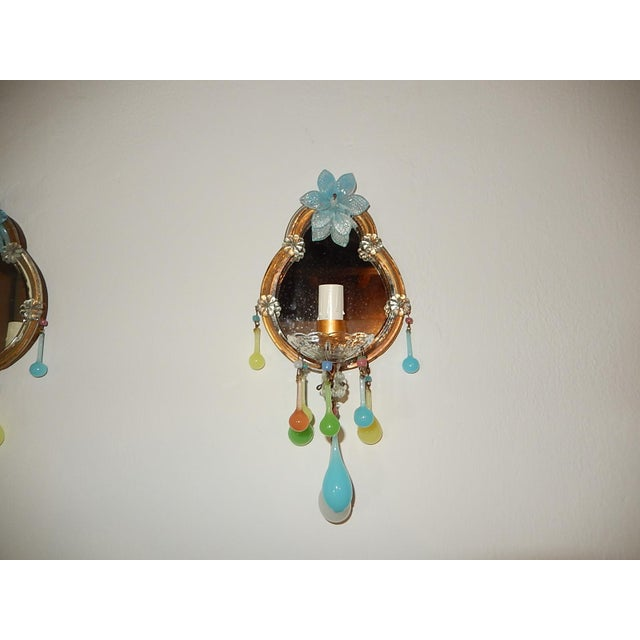 French Multicolored Opaline Murano Glass Mirrored Sconces For Sale - Image 11 of 13