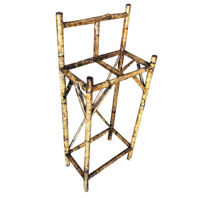 Restored Two Slot Antique Tiger Bamboo Umbrella Stand For Sale