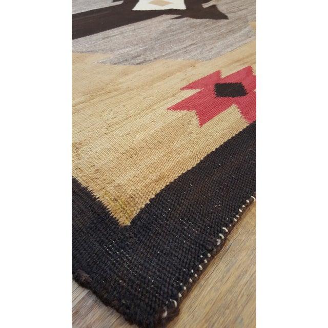 "Brown 20th Century Folk Art Navajo Carpet - 4'6""x7' For Sale - Image 8 of 9"