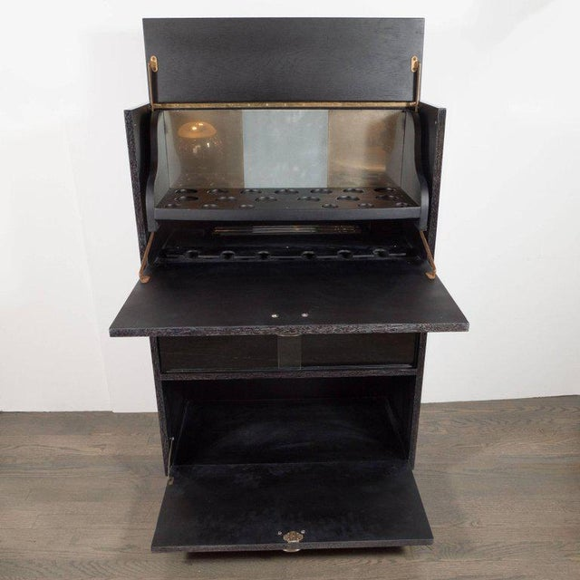 Mid-Century Modern Silver Cerused Oak Dry Bar with Nickeled Pulls For Sale - Image 4 of 11