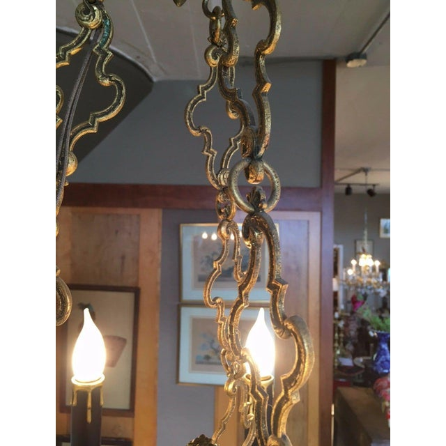 1810 Empire Regency Neoclassical 6 Light Converted Chandelier For Sale - Image 9 of 13