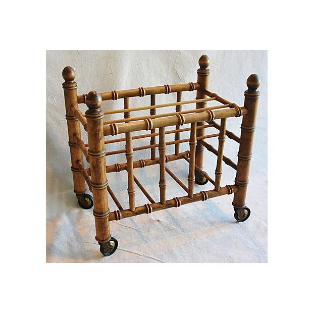 1920s Carved Wooden Bamboo-Style Magazine Rack Holder - Image 8 of 11