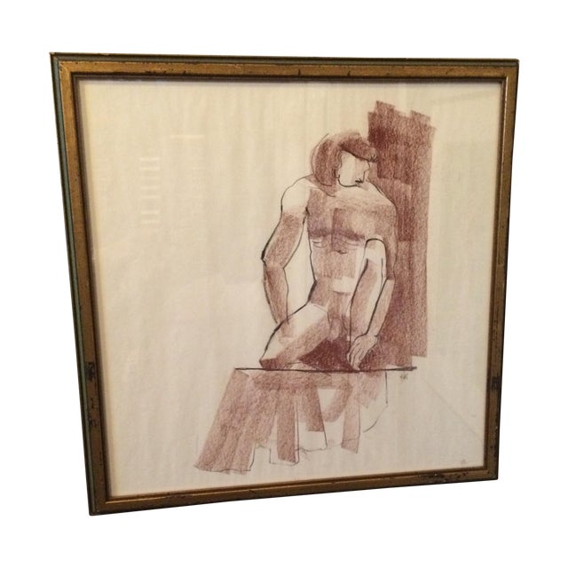 Vintage Charcoal Nude Male Drawing - Image 1 of 5