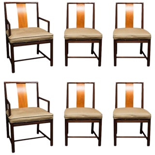 Set of Six John Stuart Walnut & Mahogany Dining Chairs