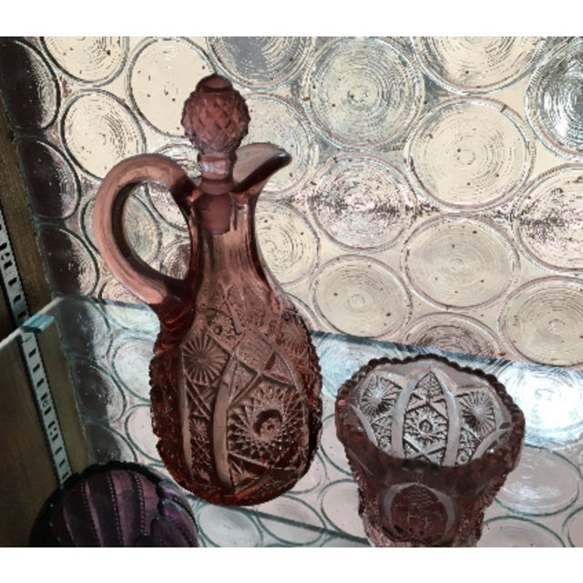 Early 20th Century Vintage l.e. Smith Moon & Star Pink Cut Glass Decanter and Drinking Cup - a Pair For Sale - Image 5 of 6