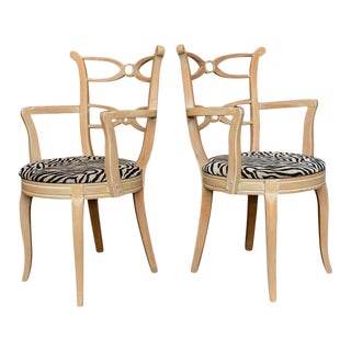 1930s Hollywood Glamour Regency Style Zebra-Print Seat Armchairs - a Pair