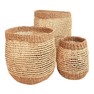 Axel Woven Basket in Brown - Set of 3 For Sale