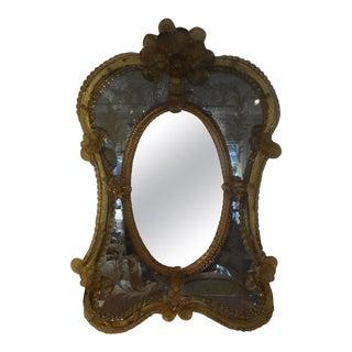Antique Etched Venetian Mirror For Sale