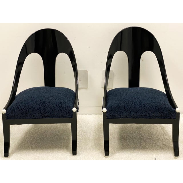 Modern Lacquered Modern Horseshoe Back Chairs Att. To Michael Taylor for Baker - a Pair For Sale - Image 3 of 8