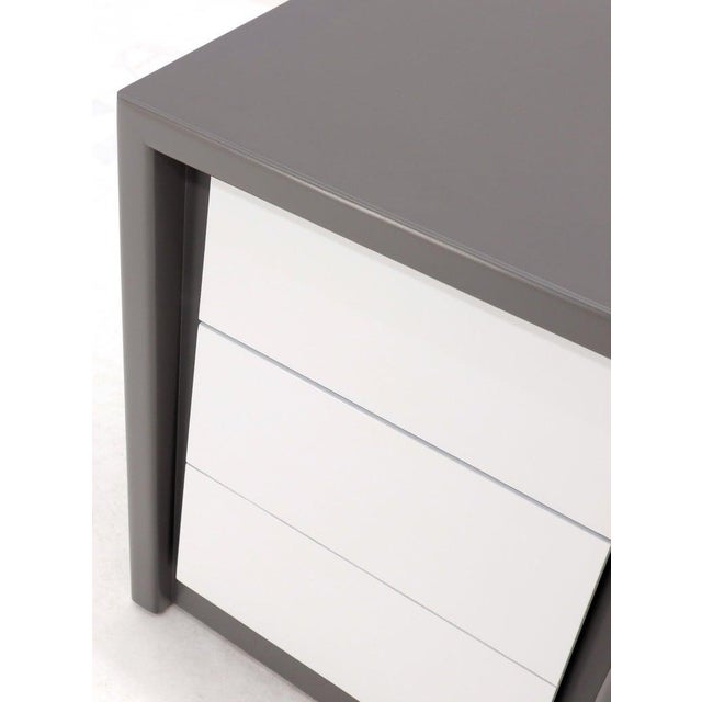 Pair of Tapered Shape Two Drawers Grey and White End Side Tables Nightstands For Sale - Image 11 of 12