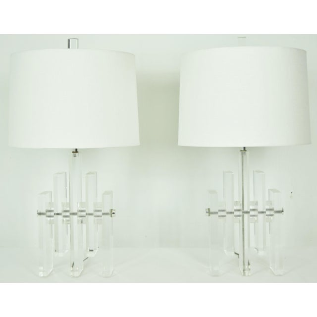 Mid-Century Modern Early 20th Century Chrome Rod Lucite Skyscraper Lamps - A Pair For Sale - Image 3 of 6