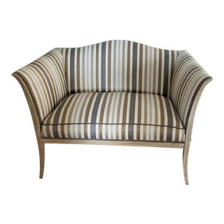 Circa 1900's Horsehair Filled Reupholstered & Refinished Sheraton-Style Settee