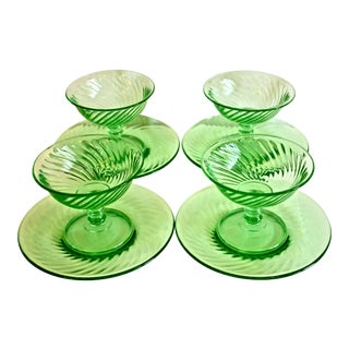 1940s Green Glass Coupe & Saucers - Set of 4 For Sale