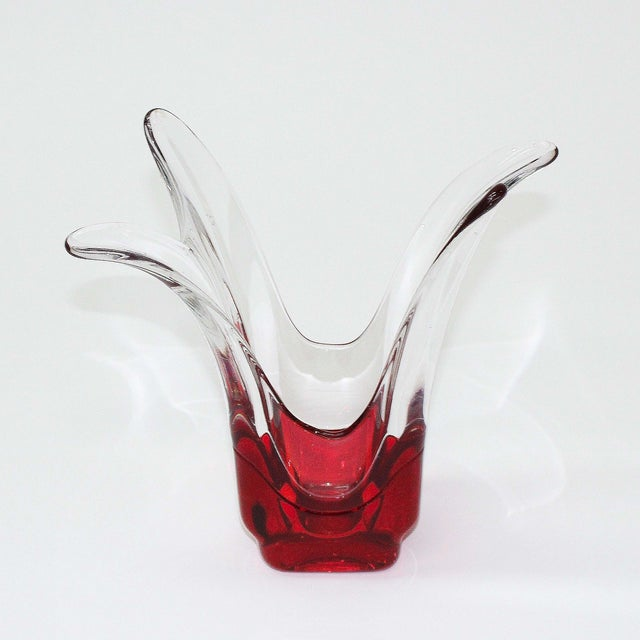 Val St. Lambert Red & Clear Glass Vase - Image 3 of 5