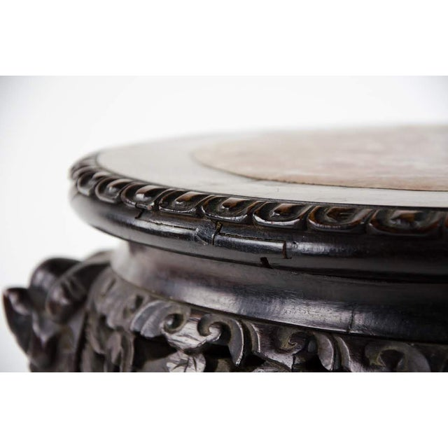 Wood 19th C. Chinese Marble-inlaid Carved Wooden Tabouret For Sale - Image 7 of 12