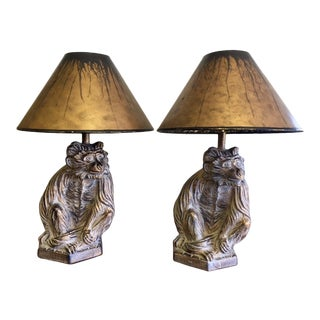 1970's Vintage Monkey Statue Lamps- A Pair For Sale