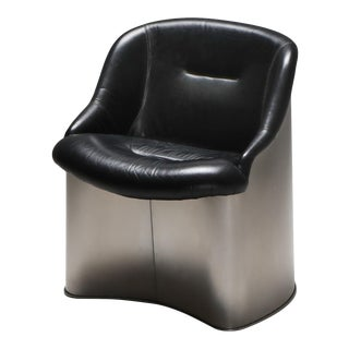 1970s Boris Tabaccof Leather and Metal Easy Chair For Sale
