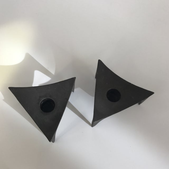 Norway Modernist Cast Iron Candle Holders - A Pair - Image 4 of 5
