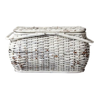 Vintage White Wicker Basket For Sale