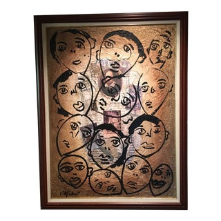 """Peter Keil Canvas Painting, """"Shakespeare Faces"""" For Sale"""