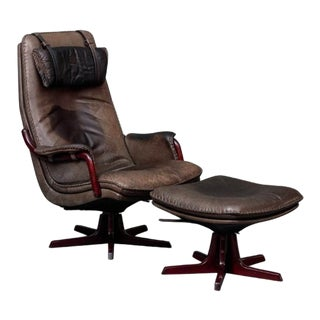 Leather and Rosewood Recliner and Ottoman For Sale