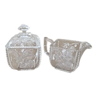 Antique Pressed Glass Sugar and Creamer For Sale