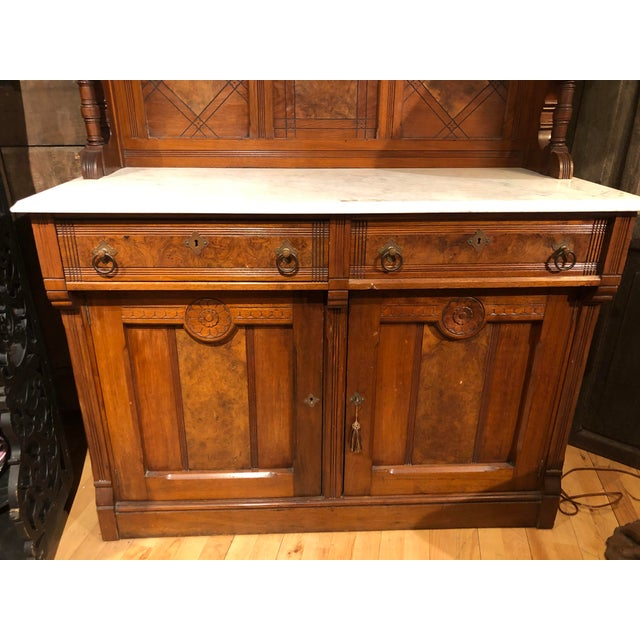Antique Victorian Buffet With Burlwood and Marble Top For Sale - Image 4 of 12