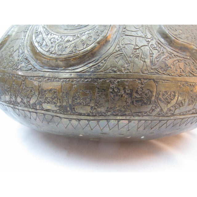 Gold 19th Century Arabic & Hebrew Calligraphy & Egyptian Figures Hebraic Revival Brass Pot For Sale - Image 8 of 10