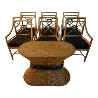 McGuire Rattan & Rawhide Chairs & Bamboo Rattan Table Base For Sale