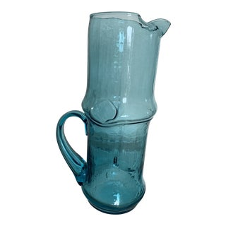 1960s Turquoise Glass Drink Pitcher For Sale