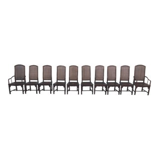 Vintage Henredon Cane Chairs - Set of 10 For Sale
