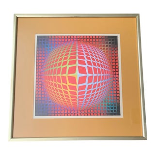 Vintage Victor Vasarely Op Art Lithograph Print Wall Hanging Mid Century Modern For Sale