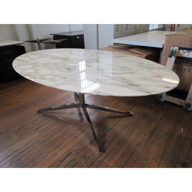 """White Florence Knoll 78"""" Calacatta Marble Top Oval Table Desk For Sale - Image 8 of 8"""