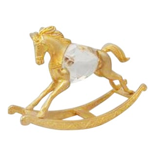 Manon Gold Rocking Horse With Swarovski Crystal For Sale