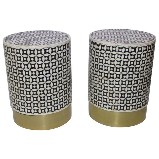 Vintage Drum Tables Tessellated Black and White Bone - a Set of 2 For Sale - Image 13 of 13