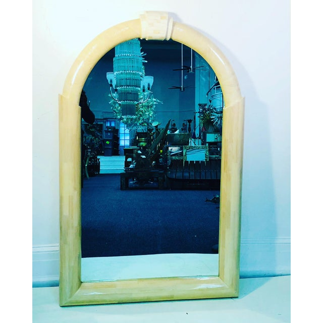 Tan Lacquered and Tessellated Large Scale Mirror For Sale - Image 8 of 8