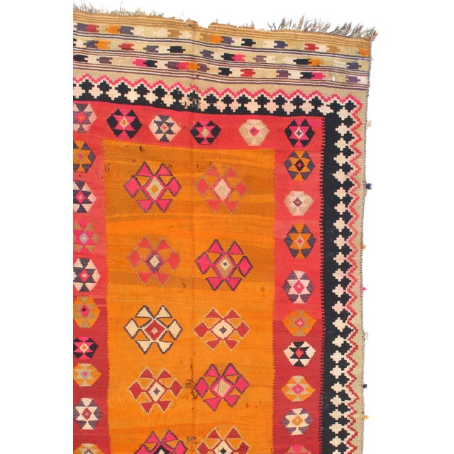 Semi-Antique Persian Shiraz Kilim Handmade Hand-woven. Lamb's Wool on a Wool Foundation. Very Fine Hand-Spun Wool Rug....