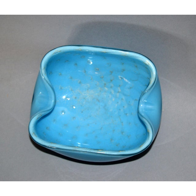 Glass Elegant Murano Glass Blue and Gold Flecks Bowls / Catchalls - a Pair For Sale - Image 7 of 12