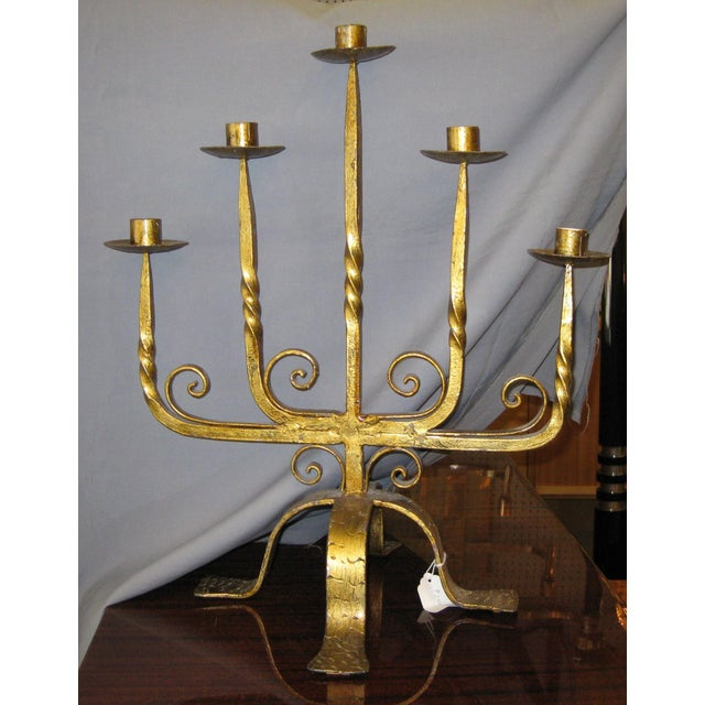 Metal 1940s French Large Gilt Iron Five Arm Candelabra For Sale - Image 7 of 8