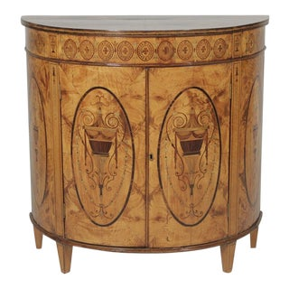 19th Century Figurative Inlaid Wood Commode For Sale