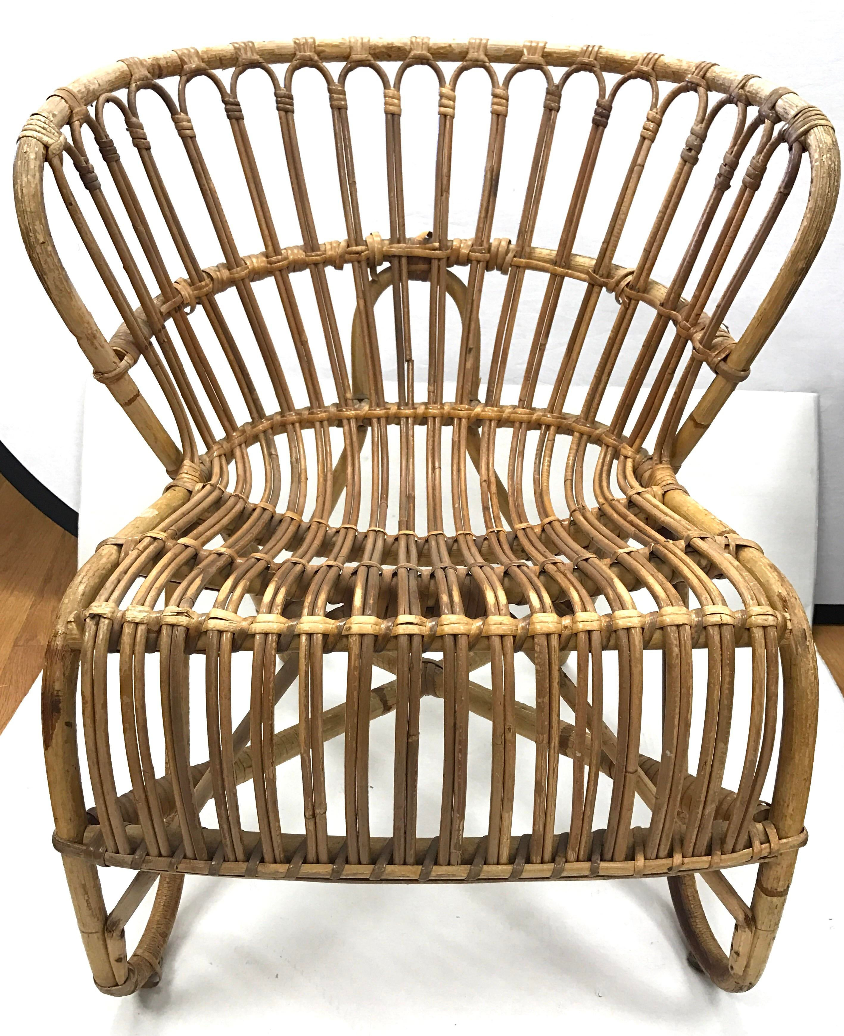Danish Mid Century Rattan Lounge Chair   Image 7 Of 7