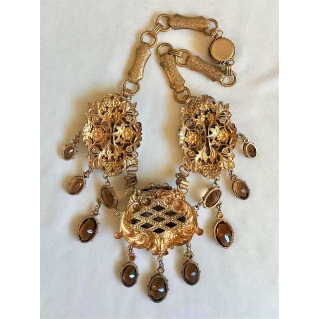 1950 Gold Tone Smoky Topaz Glass Bib Necklace For Sale In Los Angeles - Image 6 of 7