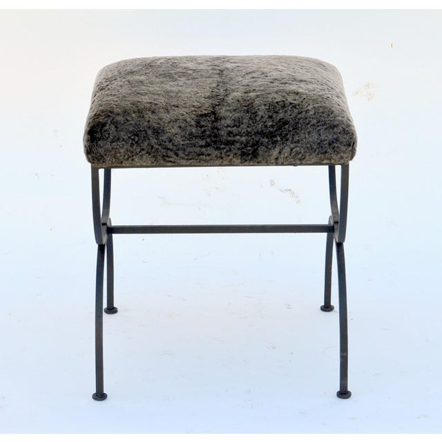 Metal Pair of 'Strapontin' Wrought Iron and Fur Stools For Sale - Image 7 of 9