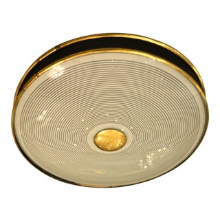 French Maison Arlus Flush Mount Light Fixture in Brass, Glass & Perforated Metal For Sale